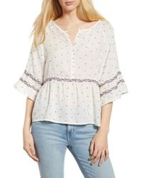 Velvet By Graham & Spencer - Velvet By Graham & Spence Embroidered Babydoll Blouse - Lyst