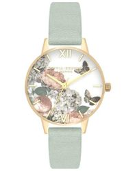 Olivia Burton - Signature Floral Leather Strap Watch - Lyst