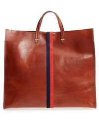 Clare V. - Rustic Simple Stripe Leather Tote - - Lyst