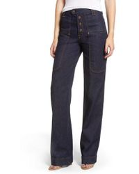 7 For All Mankind - 7 For All Mankind Alexa Utility Wide Leg Jeans - Lyst