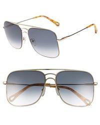 Chloé - 58mm Metal Navigator Sunglasses - - Lyst