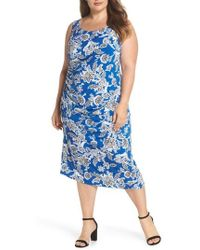 Vince Camuto - Woodblock Floral Side Ruched Body-con Dress - Lyst