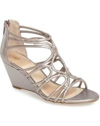 Isola - Floral Strappy Wedge Sandal - Lyst