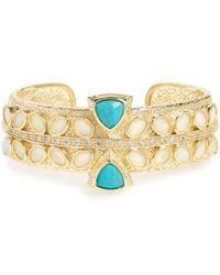 Melinda Maria - Hawthorne Turquoise & Opal Cuff Bracelet - Lyst