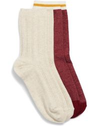 Treasure & Bond - 2-pack Cable Knit Crew Socks, Burgundy - Lyst