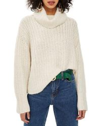 TOPSHOP - Chunky Roll Sweater - Lyst
