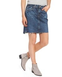 00f544a057b04 Lyst - Free People Step Up Denim Mini Skirt in Blue