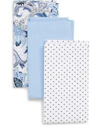 Nordstrom - 3-pack Cotton Pocket Squares, Blue - Lyst