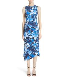 Michael Kors - Draped Floral Print Sheath Dress - Lyst