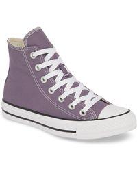 e36e35139ec19 Converse Chuck Taylor All Star Metallic High Top Shoe in Purple - Lyst