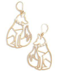 Kate Spade - So Foxy Fox Wire Drop Earrings - Lyst