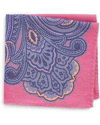 Eton of Sweden - Paisley Linen & Silk Pocket Square - Lyst