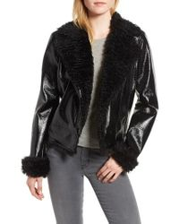 Kensie - Faux Patent Leather With Faux Shearling Trim Moto Jacket - Lyst
