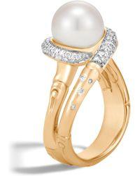John Hardy - Bamboo Freshwater Pearl & Diamond Ring - Lyst
