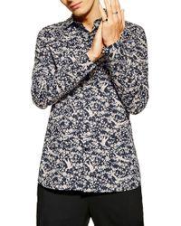39b3f42545449 TOPMAN - Stretch Skinny Fit Floral Print Shirt - Lyst
