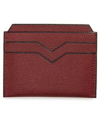 Valextra - Leather Card Case - Burgundy - Lyst