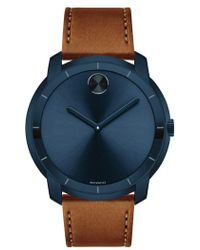 Movado - Bold Thin Leather Strap Watch - Lyst