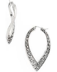 John Hardy - Classic Chain Wave Hoop Earrings - Lyst