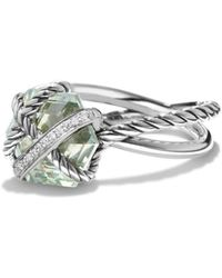 David Yurman - Petite Cable Wrap Ring With Prasiolite And Diamonds - Lyst
