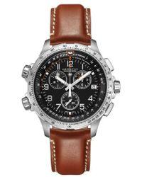 Hamilton - Khaki X-wind Chronograph Leather Strap Watch - Lyst