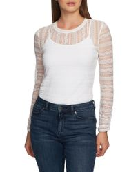 1.STATE - Delicate Lace Knit Top - Lyst