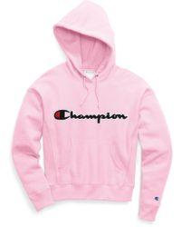 Champion - Chenille Logo Reverse Weave Hoodie - Lyst