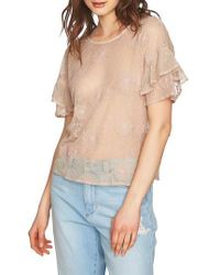 1.STATE - Embroidered Ruffle Sleeve Top - Lyst
