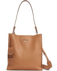 29922241c76 Prada Vitello Daino Double Compartment Leather Crossbody Bag in Black - Lyst