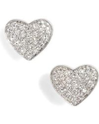 EF Collection - Diamond Heart Stud Earrings - Lyst