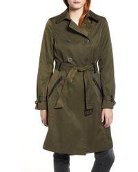 Sam Edelman - Packable Trench Coat, Green - Lyst