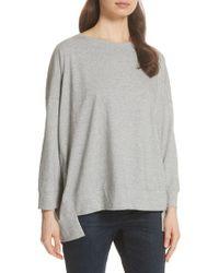 Eileen Fisher - High/low Cotton Sweatshirt - Lyst
