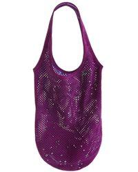 Pedro Garcia - Swarovski Crystal Studded Suede Shopper - Purple - Lyst