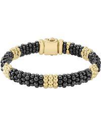 Lagos - Gold & Black Caviar Station Bracelet - Lyst