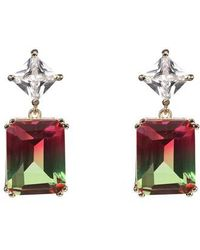 Nina - Deco Double Drop Earrings - Lyst
