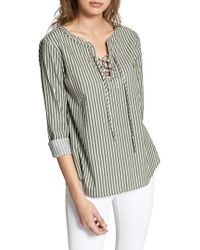 Sanctuary - Tommie Lace-up Stripe Shirt - Lyst