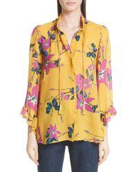 Etro - Lily Print Tie Neck Silk Blouse - Lyst