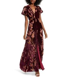 4si3nna - Floral Burnout Velvet Maxi Dress - Lyst