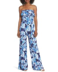Lilly Pulitzer - Aleatha Jumpsuit (bright Navy In Reel Life) Women's Jumpsuit & Rompers One Piece - Lyst