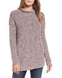 NIC+ZOE - Speckled Mock Neck Cotton Blend Sweater - Lyst