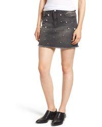Tinsel - Imitation Pearl Embellished Denim Skirt - Lyst