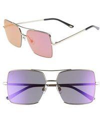 Web - 57mm Square Metal Aviator Sunglasses - - Lyst