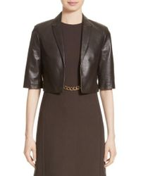 Michael Kors - Crop Plonge Leather Jacket - Lyst