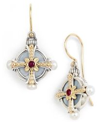 Konstantino Hestia Pearl & Ruby Drop Earrings RktU5nj