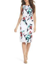 Adrianna Papell - Dynasty Floral Print Stretch Sheath Dress - Lyst