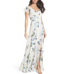 Jenny Yoo - Alanna Ohana Print Open Back Print Chiffon Gown - Lyst