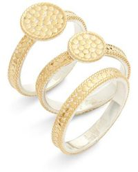 Anna Beck - Gold Plate Disc Set Of 3 Stacking Rings - Lyst