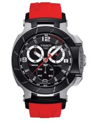 Tissot - T-race Chronograph Silicone Strap Watch - Lyst