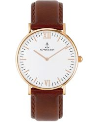 KAPTEN & SON - Campus Leather Strap Watch - Lyst