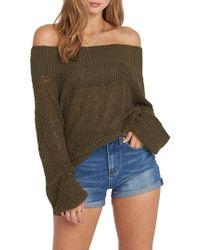 Billabong - Rolled Up Off The Shoulder Sweater - Lyst