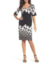 Adrianna Papell - Print Sheath Dress - Lyst
